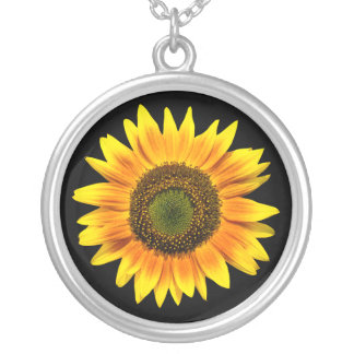 Yellow sunflower photo silver necklace