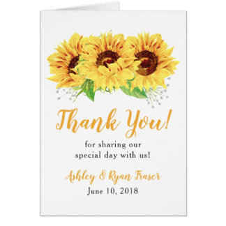 Yellow Sunflower Photo Wedding Thank You Card