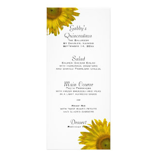 Yellow Sunflower Quinceañera Menu