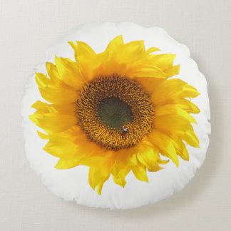 yellow sunflower round pillow