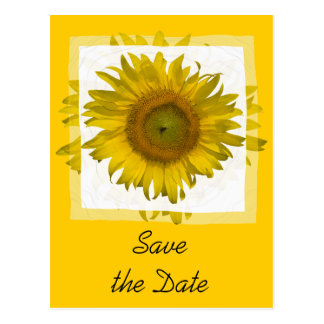 Yellow Sunflower Save the Date Announcement Postcard