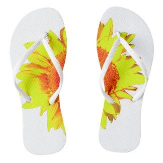 Yellow Sunflower shown on Flip Flops