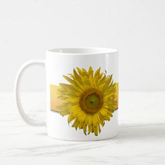 Yellow Sunflower Stripe Wedding Coffee Mug