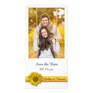 Yellow Sunflower Stripe Wedding Save the Date Custom Photo Card