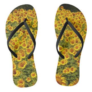 Yellow Sunflower Summer Design Flip Flops