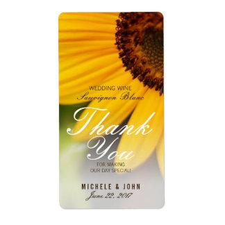 Yellow Sunflower Summer Wedding Wine Custom Label Shipping Label