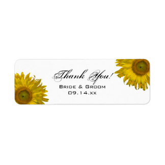 Yellow Sunflower Thank You Favor Tag Return Address Label