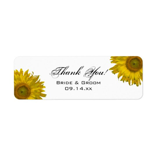 Yellow Sunflower Thank You Favour Tag Return Address Label