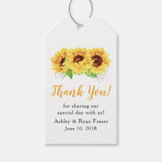 Yellow Sunflower Watercolor Wedding Thank You Gift Tags