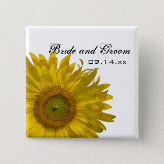 Yellow Sunflower Wedding 2 Inch Square Button