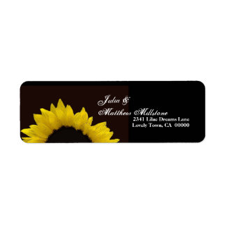 Yellow Sunflower Wedding Address Label