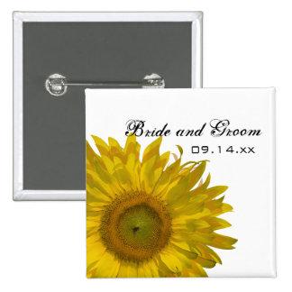 Yellow Sunflower Wedding Button