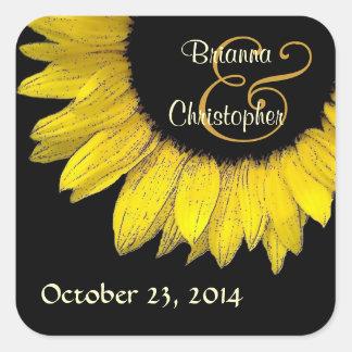 Yellow Sunflower Wedding Envelope Seal  Square Sticker