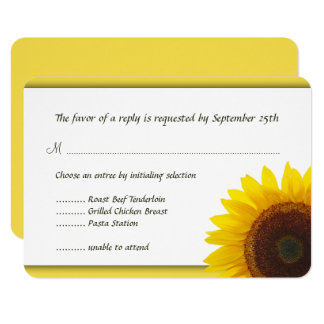 Yellow Sunflower Wedding Menu Reply Card