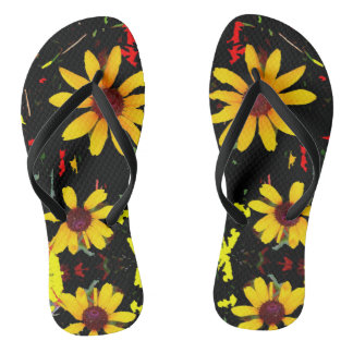 Yellow Sunflower with Confetti - Black Flip Flop