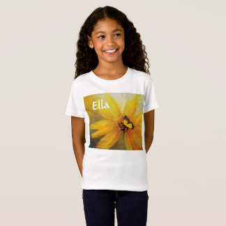Yellow Sunflower with your name T-Shirt for Kids