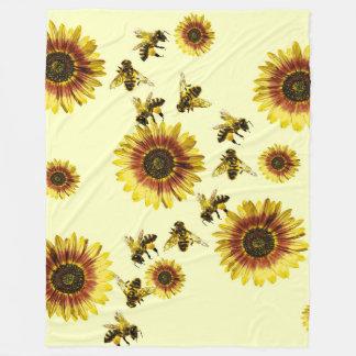 Yellow Sunflowers and Honey Bees Summer Pattern Fleece Blanket