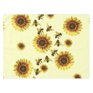 Yellow Sunflowers and Honey Bees Summer Pattern Tablecloth