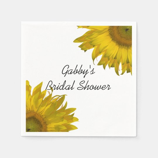 Yellow Sunflowers Bridal Shower Disposable Napkins