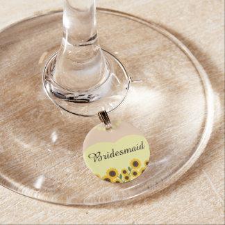 Yellow Sunflowers Bridesmaid Wedding Wine Charm