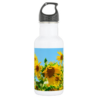 Yellow Sunflowers in a Field 532 Ml Water Bottle