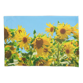 Yellow Sunflowers in a Field Pillowcase