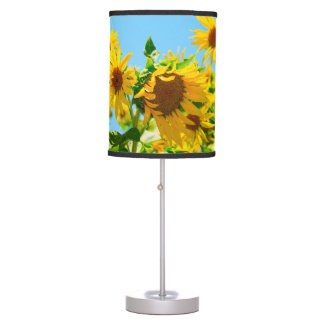 Yellow Sunflowers in a Field Table Lamp