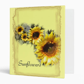 Yellow Sunflowers in a Row Binder