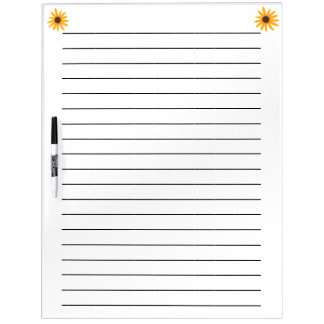 Yellow Sunflowers Lined Dry Erase Board