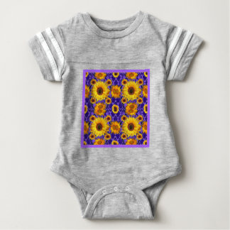 Yellow Sunflowers On Amethyst Color Gifts Baby Bodysuit