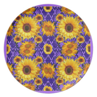 Yellow Sunflowers On Amethyst Color Gifts Dinner Plate