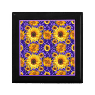 Yellow Sunflowers On Amethyst Color Gifts Gift Box