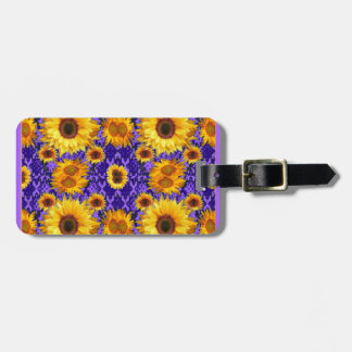 Yellow Sunflowers On Amethyst Color Gifts Luggage Tag