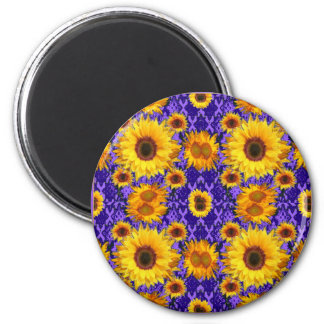 Yellow Sunflowers On Amethyst Color Gifts Magnet