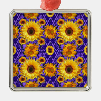 Yellow Sunflowers On Amethyst Color Gifts Metal Ornament