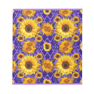 Yellow Sunflowers On Amethyst Color Gifts Notepad