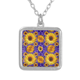 Yellow Sunflowers On Amethyst Color Gifts Silver Plated Necklace