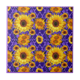 Yellow Sunflowers On Amethyst Color Gifts Tiles