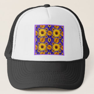 Yellow Sunflowers On Amethyst Color Gifts Trucker Hat
