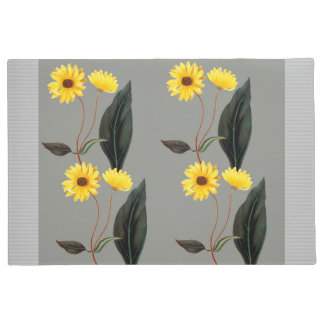 Yellow Sunflowers On Gray Faux Fringe Mat 24 x 36