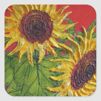 Yellow Sunflowers on Red Sticker