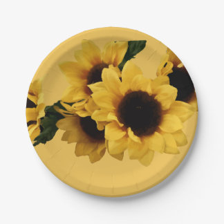 Yellow Sunflowers Paper Plate