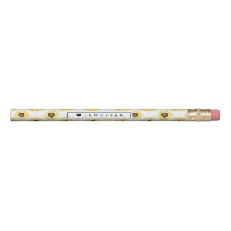 Yellow Sunflowers Pattern Personalized Floral Pencil