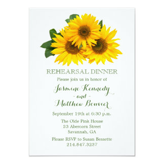 Yellow Sunflowers Rehearsal Dinner Flower Wedding Card
