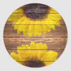 Yellow Sunflowers Rustic Vintage Brown Wood Classic Round Sticker