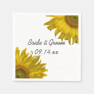 Yellow Sunflowers Wedding Paper Napkin