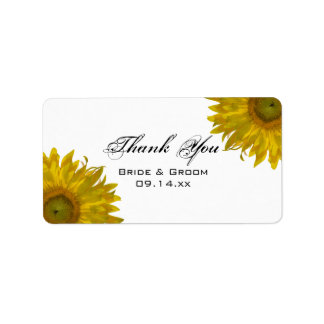 Yellow Sunflowers Wedding Thank You Favor Tags