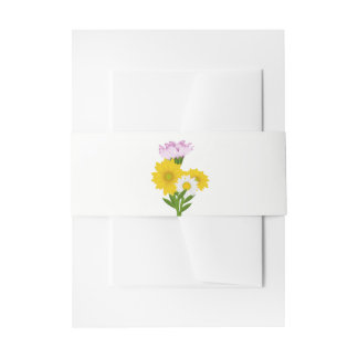 Yellow Sunflowers & White Daisies, Purple Flower Invitation Belly Band