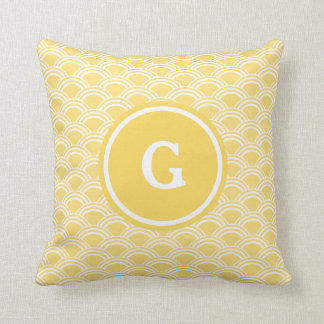 Yellow Sunrise Monogram Throw Pillow