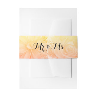 Yellow Sunset Pastel Floral Flowers Boho Wedding Invitation Belly Band
